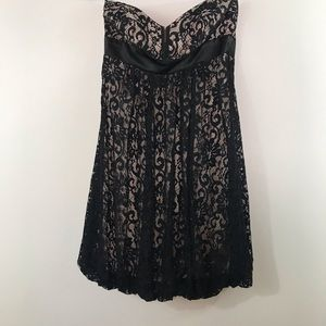 Cache Black Lace Crochet Strapless Dress NWT